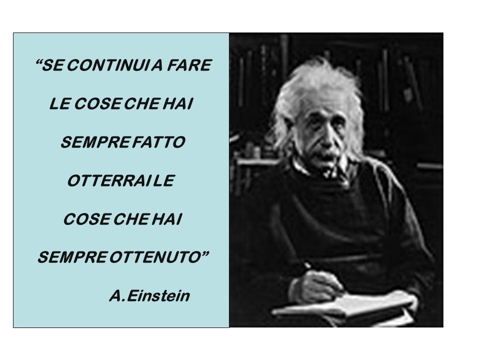 SE CONTINUI A FARE LE COSE CHE HAI SEMPRE FATTO OTTERRAI LE COSE CHE HAI SEMPRE OTTENUTO A.Einstein