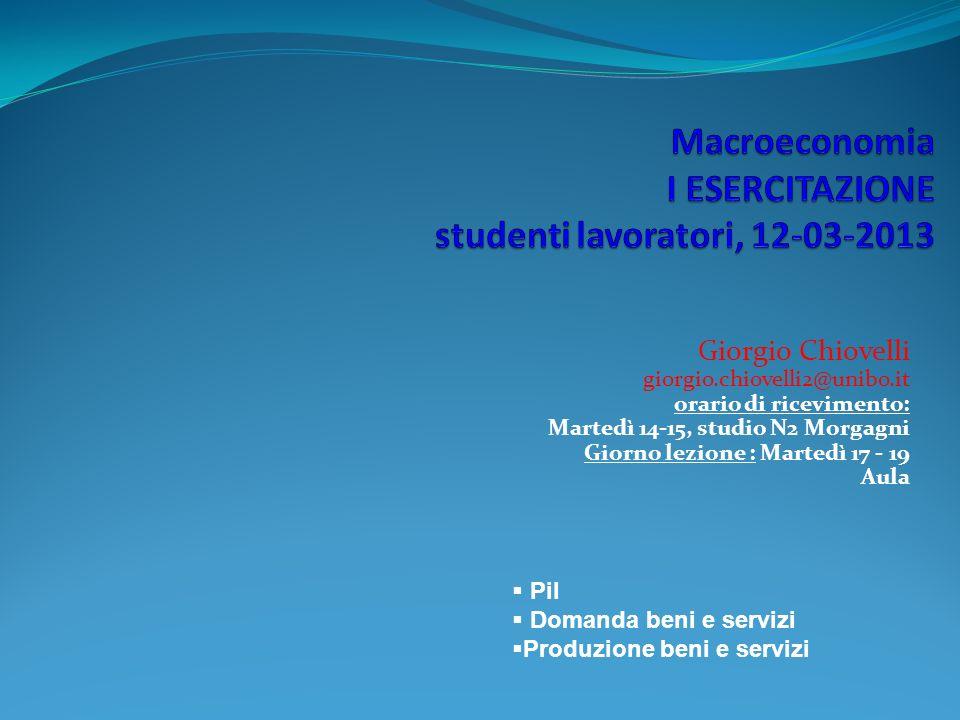 Giorgio Chiovelli giorgio.chiovelli2@unibo.it orario di ricevimento: Martedì 14-15, studio N2 Morgagni Giorno lezione : Martedì 17 - 19 Aula Pil Doman