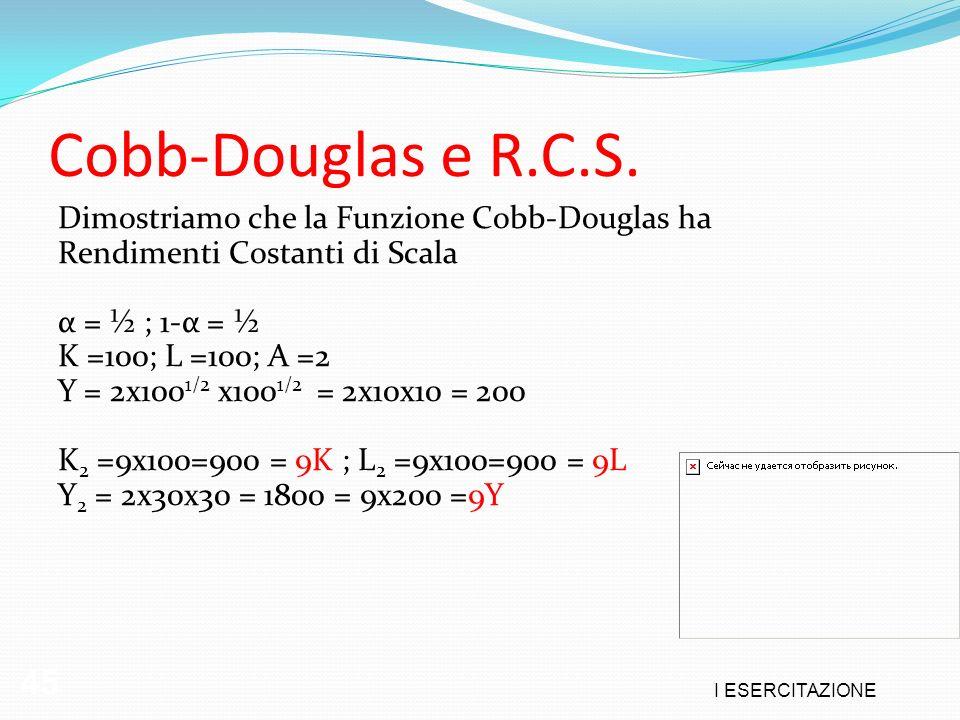 I ESERCITAZIONE 45 Cobb-Douglas e R.C.S. Dimostriamo che la Funzione Cobb-Douglas ha Rendimenti Costanti di Scala α = ½ ; 1-α = ½ K =100; L =100; A =2