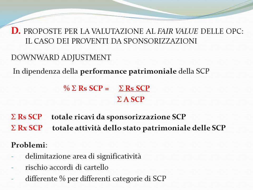 D. PROPOSTE PER LA VALUTAZIONE AL FAIR VALUE DELLE OPC: IL CASO DEI PROVENTI DA SPONSORIZZAZIONI DOWNWARD ADJUSTMENT In dipendenza della performance p