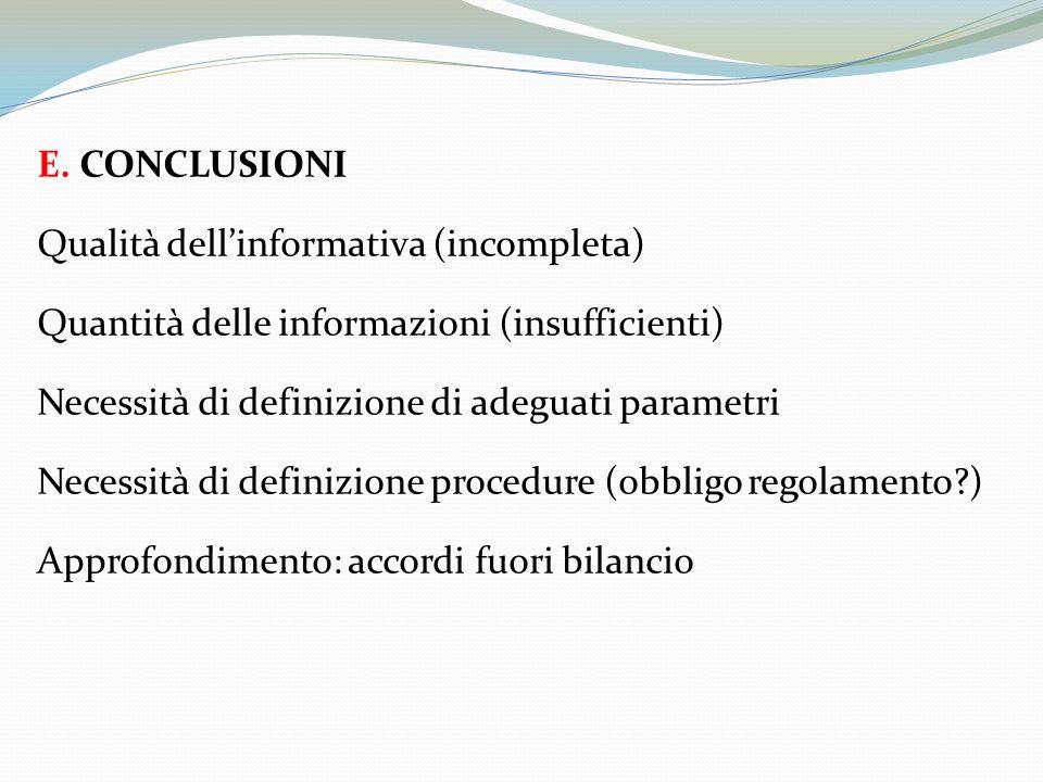 E. CONCLUSIONI Qualità dellinformativa (incompleta) Quantità delle informazioni (insufficienti) Necessità di definizione di adeguati parametri Necessi