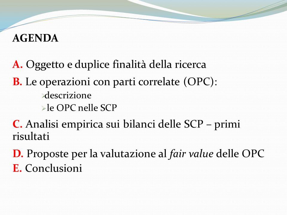 OGGETTO DELLA RICERCA Analisi dei flussi informativi delle SCP in tema di operazioni con parti correlate FINALITÀ 1 Quadro di sintesi della qualità e della quantità di informazioni riguardanti le OPC nelle SCP FINALITÀ 2 Definizione di un possibile metodo di valutazione al fair value delle OPC