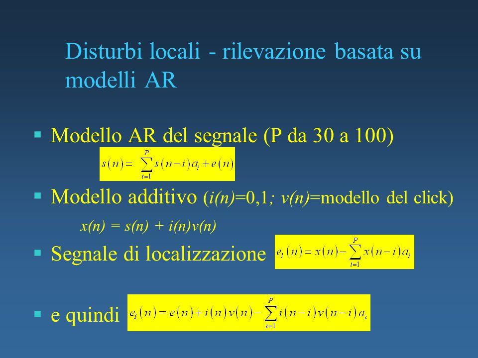 Disturbi locali - rilevazione basata su modelli AR Modello AR del segnale (P da 30 a 100) Modello additivo (i(n)=0,1; v(n)=modello del click) x(n) = s