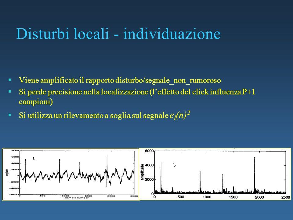 Disturbi locali - individuazione Viene amplificato il rapporto disturbo/segnale_non_rumoroso Si perde precisione nella localizzazione (leffetto del cl