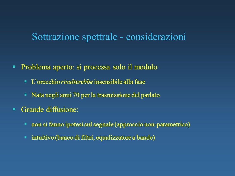 Sottrazione spettrale - considerazioni Problema aperto: si processa solo il modulo Lorecchio risulterebbe insensibile alla fase Nata negli anni 70 per