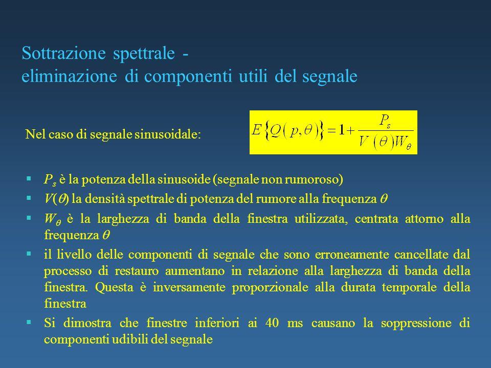 Sottrazione spettrale - eliminazione di componenti utili del segnale P s è la potenza della sinusoide (segnale non rumoroso) V( ) la densità spettrale