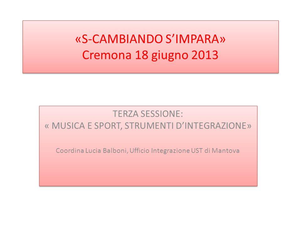 «S-CAMBIANDO SIMPARA» Cremona 18 giugno 2013 TERZA SESSIONE: « MUSICA E SPORT, STRUMENTI DINTEGRAZIONE» Coordina Lucia Balboni, Ufficio Integrazione UST di Mantova TERZA SESSIONE: « MUSICA E SPORT, STRUMENTI DINTEGRAZIONE» Coordina Lucia Balboni, Ufficio Integrazione UST di Mantova