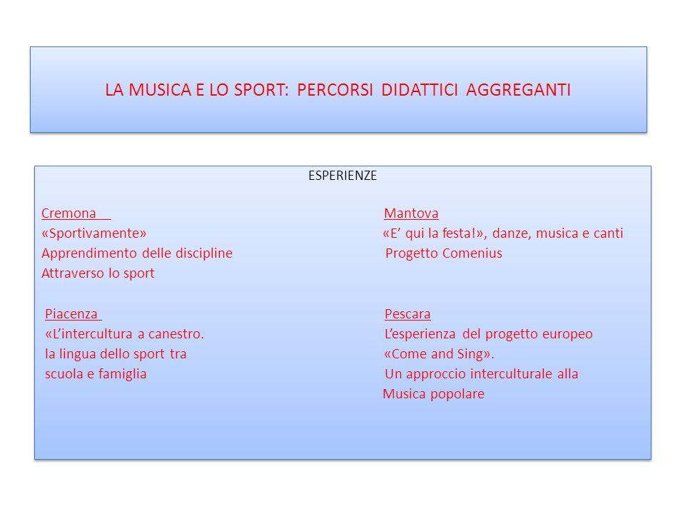 LA MUSICA E LO SPORT: PERCORSI DIDATTICI AGGREGANTI ESPERIENZE Cremona Mantova «Sportivamente» «E qui la festa!», danze, musica e canti Apprendimento
