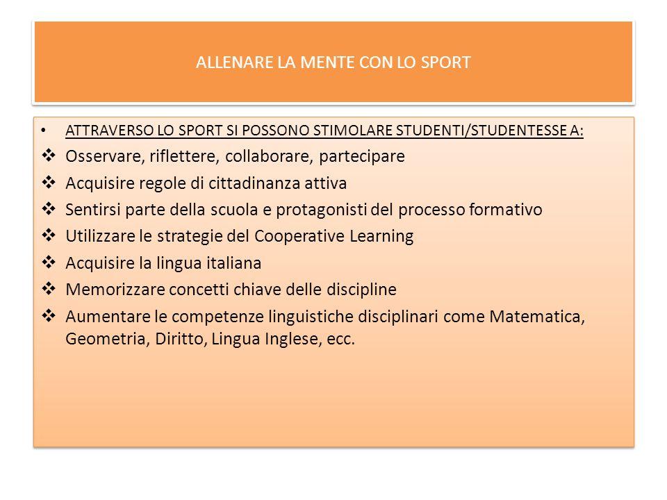 ALLENARE LA MENTE CON LO SPORT ATTRAVERSO LO SPORT SI POSSONO STIMOLARE STUDENTI/STUDENTESSE A: Osservare, riflettere, collaborare, partecipare Acquis