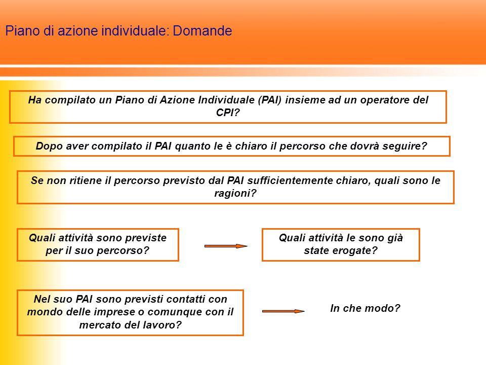 Piano di azione individuale: Domande Ha compilato un Piano di Azione Individuale (PAI) insieme ad un operatore del CPI.