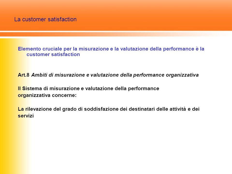 La customer satisfaction Elemento cruciale per la misurazione e la valutazione della performance è la customer satisfaction Art.8 Ambiti di misurazione e valutazione della performance organizzativa Il Sistema di misurazione e valutazione della performance organizzativa concerne: La rilevazione del grado di soddisfazione dei destinatari delle attività e dei servizi