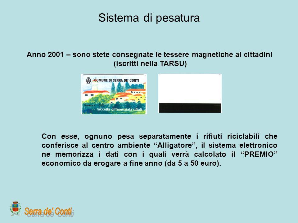 Sistema di pesatura Anno 2001 – sono stete consegnate le tessere magnetiche ai cittadini (iscritti nella TARSU) Con esse, ognuno pesa separatamente i