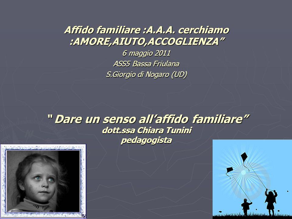 Dare un senso allaffido familiare dott.ssa Chiara Tunini pedagogista Dare un senso allaffido familiare dott.ssa Chiara Tunini pedagogista Affido famil