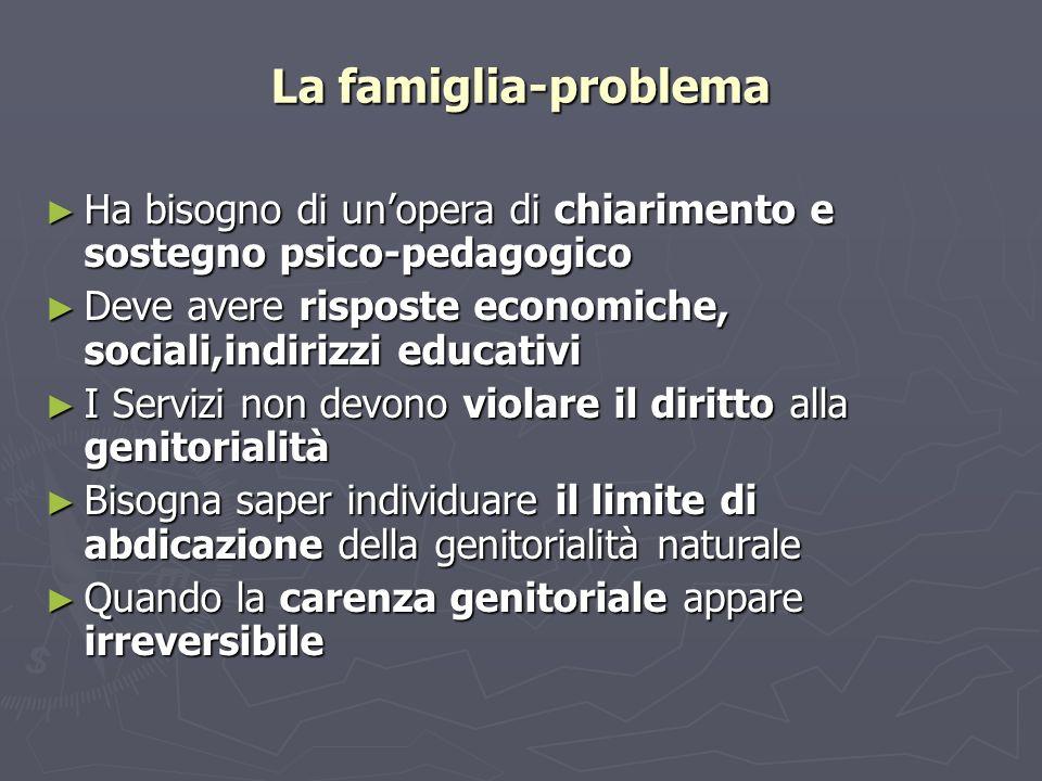 La famiglia-problema Ha bisogno di unopera di chiarimento e sostegno psico-pedagogico Ha bisogno di unopera di chiarimento e sostegno psico-pedagogico