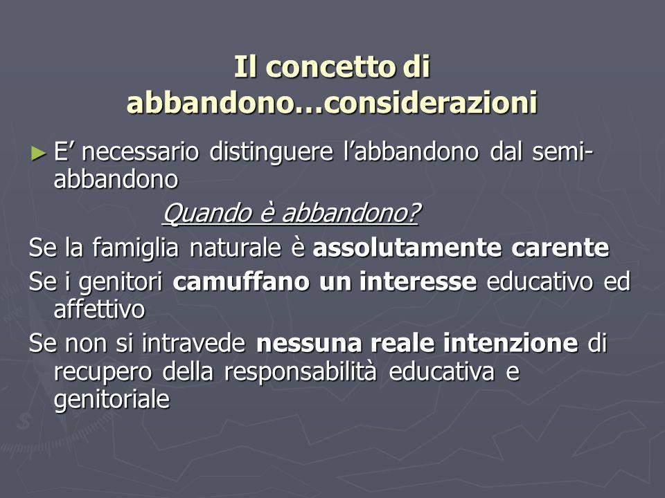 Il concetto di abbandono…considerazioni E necessario distinguere labbandono dal semi- abbandono E necessario distinguere labbandono dal semi- abbandon