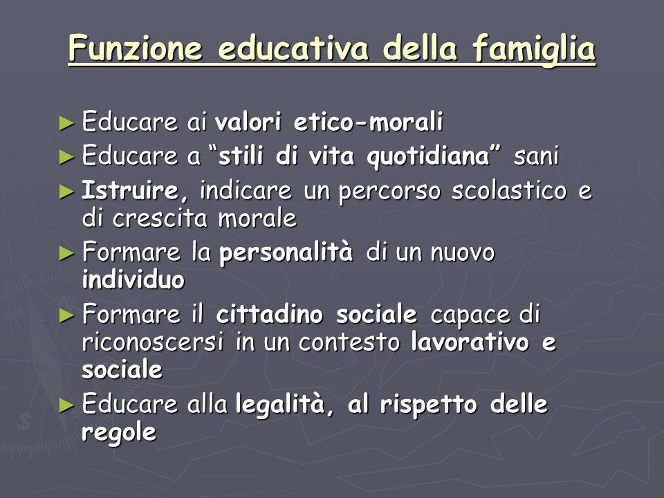 Funzione educativa della famiglia Educare ai valori etico-morali Educare ai valori etico-morali Educare a stili di vita quotidiana sani Educare a stil
