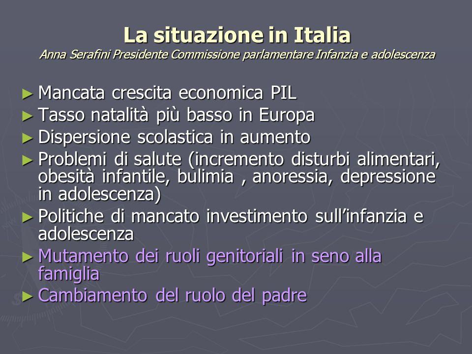 La situazione in Italia Anna Serafini Presidente Commissione parlamentare Infanzia e adolescenza Mancata crescita economica PIL Mancata crescita econo