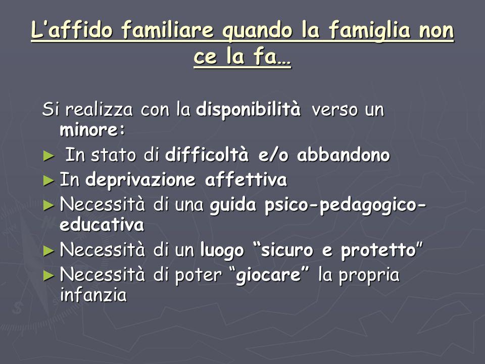 Laffido familiare quando la famiglia non ce la fa… Si realizza con la disponibilità verso un minore: In stato di difficoltà e/o abbandono In stato di