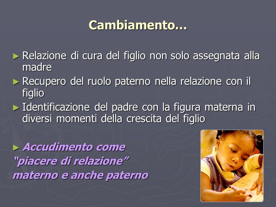 Cambiamento… Relazione di cura del figlio non solo assegnata alla madre Relazione di cura del figlio non solo assegnata alla madre Recupero del ruolo