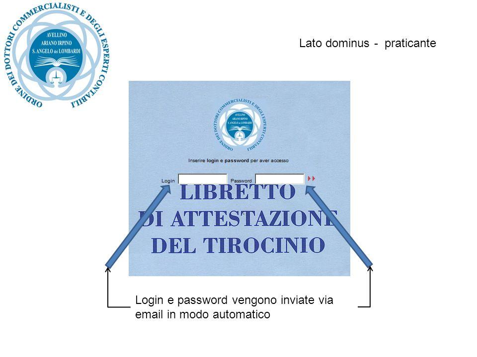 Lato dominus - praticante Login e password vengono inviate via email in modo automatico