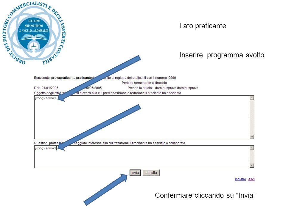 Inserire programma svolto Confermare cliccando su Invia