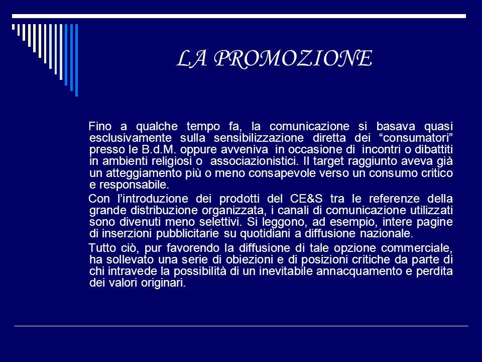 LA PROMOZIONE Fino a qualche tempo fa, la comunicazione si basava quasi esclusivamente sulla sensibilizzazione diretta dei consumatori presso le B.d.M