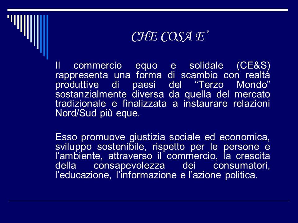 CHE COSA E Il commercio equo e solidale (CE&S) rappresenta una forma di scambio con realtà produttive di paesi del Terzo Mondo sostanzialmente diversa