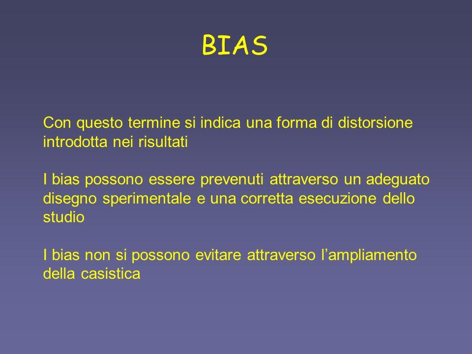 BIAS Con questo termine si indica una forma di distorsione introdotta nei risultati I bias possono essere prevenuti attraverso un adeguato disegno spe