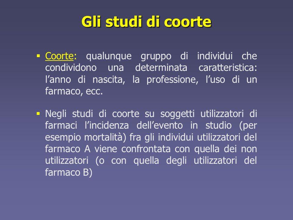 Gli studi di coorte Negli studi di coorte su soggetti utilizzatori di farmaci lincidenza dellevento in studio (per esempio mortalità) fra gli individu