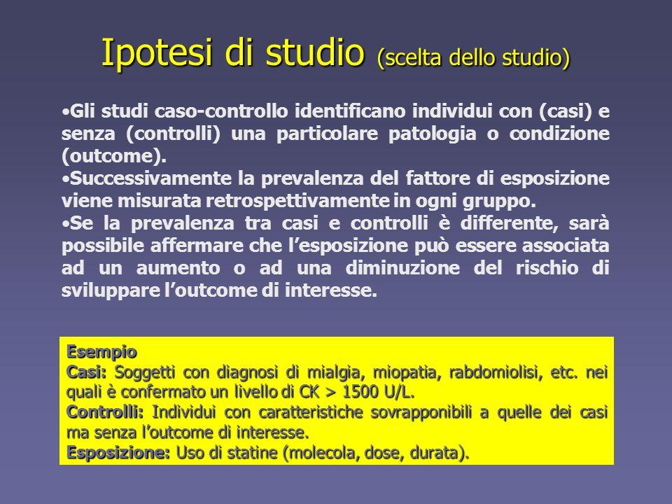 Gli studi caso-controllo identificano individui con (casi) e senza (controlli) una particolare patologia o condizione (outcome). Successivamente la pr