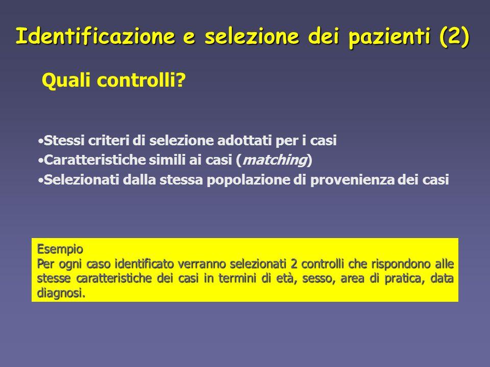Quali controlli? Stessi criteri di selezione adottati per i casi Caratteristiche simili ai casi (matching) Selezionati dalla stessa popolazione di pro