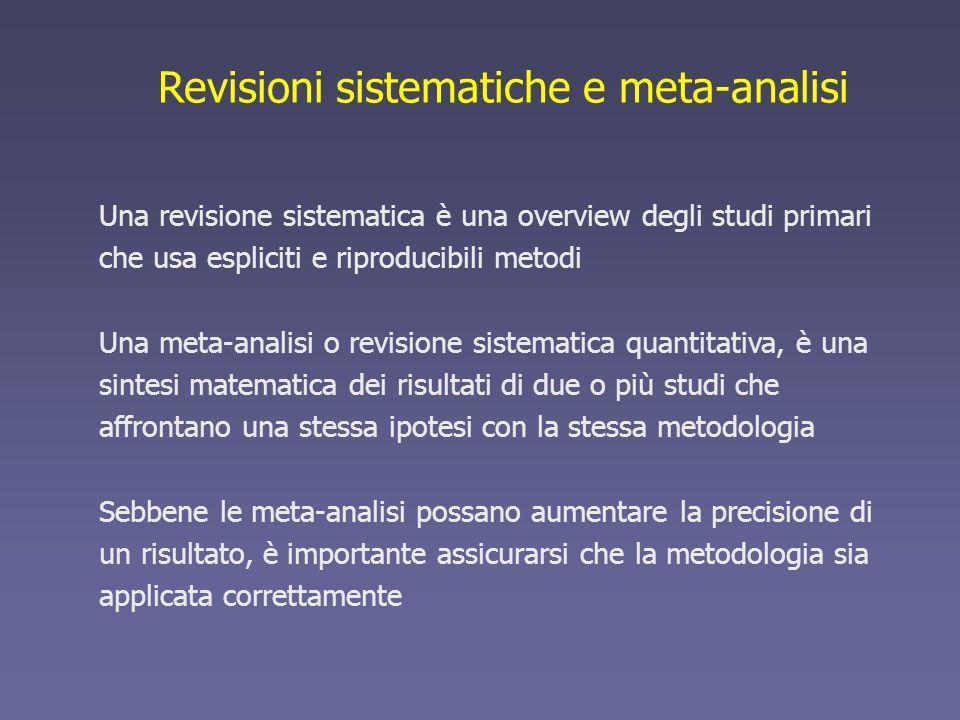 Revisioni sistematiche e meta-analisi Una revisione sistematica è una overview degli studi primari che usa espliciti e riproducibili metodi Una meta-a