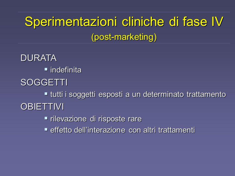 Sperimentazioni cliniche di fase IV (post-marketing) DURATA indefinita indefinitaSOGGETTI tutti i soggetti esposti a un determinato trattamento tutti