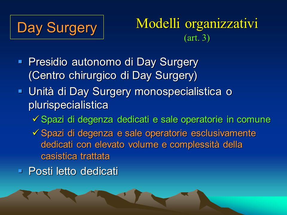 Le attività di Day Surgery richiedono la definizione e ladozione di specifiche procedure cliniche ed organizzative per le fasi di selezione ed ammissione, cura e dimissione Garanzie del percorso assistenziale (art.