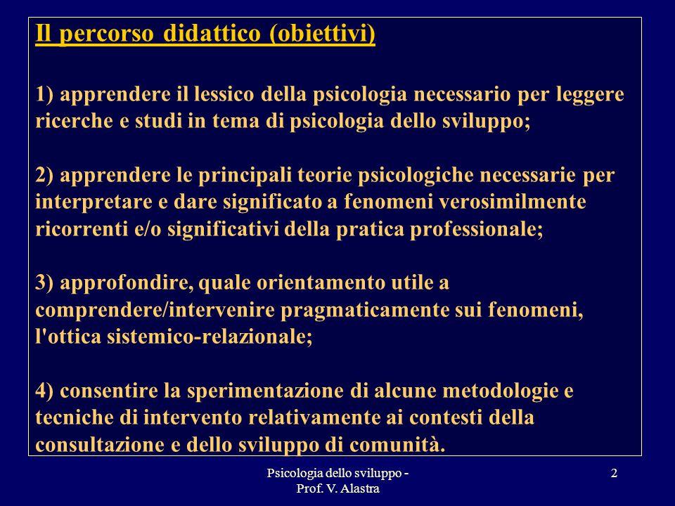 Psicologia dello sviluppo - Prof. V. Alastra 2 Il percorso didattico (obiettivi) 1) apprendere il lessico della psicologia necessario per leggere rice