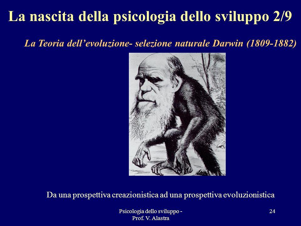 Psicologia dello sviluppo - Prof. V. Alastra 24 La nascita della psicologia dello sviluppo 2/9 La Teoria dellevoluzione- selezione naturale Darwin (18