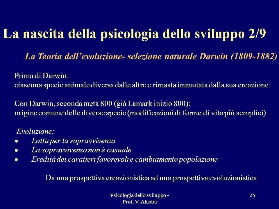 Psicologia dello sviluppo - Prof. V. Alastra 25 La nascita della psicologia dello sviluppo 2/9 La Teoria dellevoluzione- selezione naturale Darwin (18