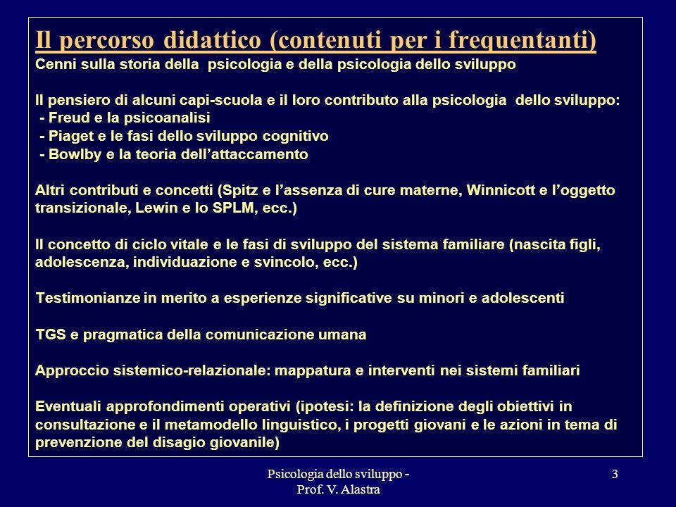 Psicologia dello sviluppo - Prof. V. Alastra 3 Il percorso didattico (contenuti per i frequentanti) Cenni sulla storia della psicologia e della psicol