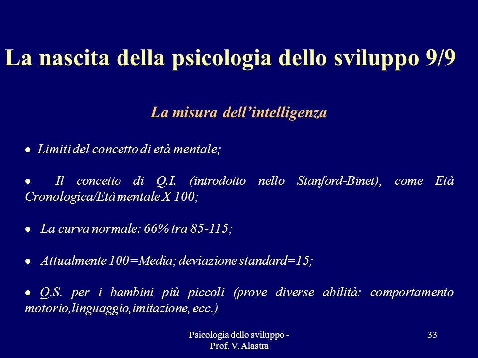 Psicologia dello sviluppo - Prof. V. Alastra 33 La nascita della psicologia dello sviluppo 9/9 La misura dellintelligenza Limiti del concetto di età m