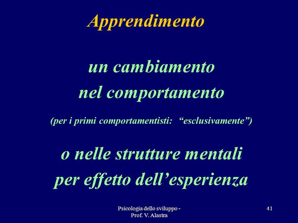 Psicologia dello sviluppo - Prof. V. Alastra 41 un cambiamento nel comportamento (per i primi comportamentisti: esclusivamente) o nelle strutture ment