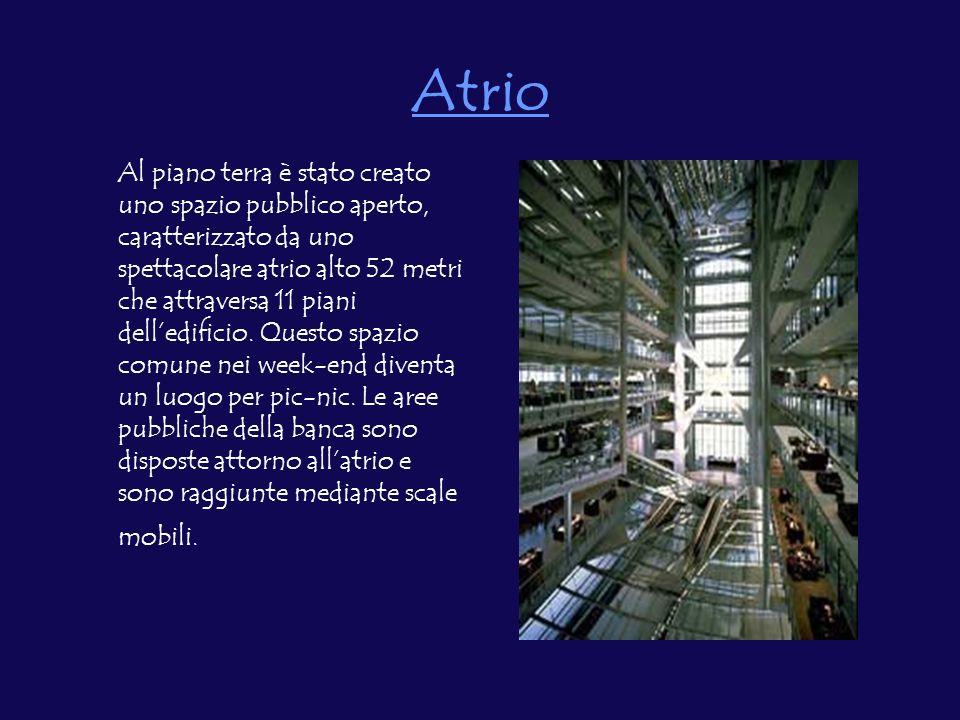Atrio Al piano terra è stato creato uno spazio pubblico aperto, caratterizzato da uno spettacolare atrio alto 52 metri che attraversa 11 piani delledificio.