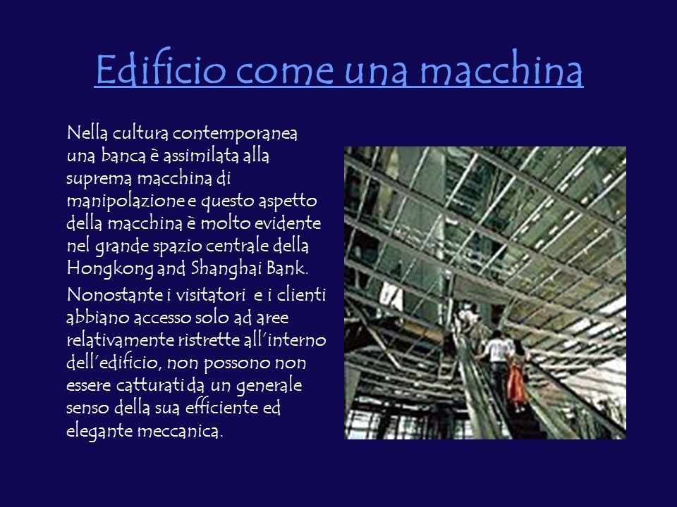 Edificio come una macchina Nella cultura contemporanea una banca è assimilata alla suprema macchina di manipolazione e questo aspetto della macchina è