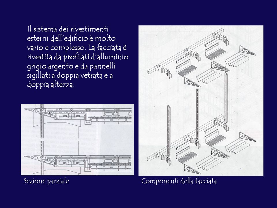 Il sistema dei rivestimenti esterni delledificio è molto vario e complesso. La facciata è rivestita da profilati dalluminio grigio argento e da pannel
