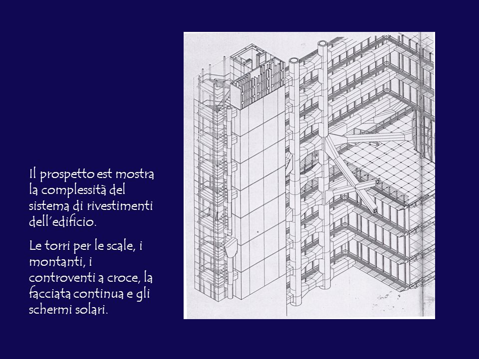Il prospetto est mostra la complessità del sistema di rivestimenti delledificio. Le torri per le scale, i montanti, i controventi a croce, la facciata