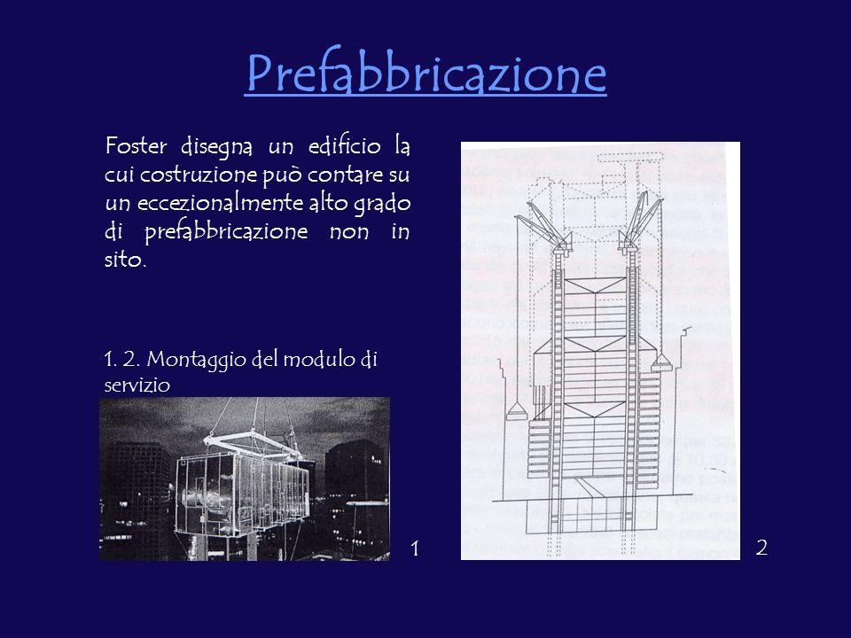 Prefabbricazione Foster disegna un edificio la cui costruzione può contare su un eccezionalmente alto grado di prefabbricazione non in sito. 1. 2. Mon