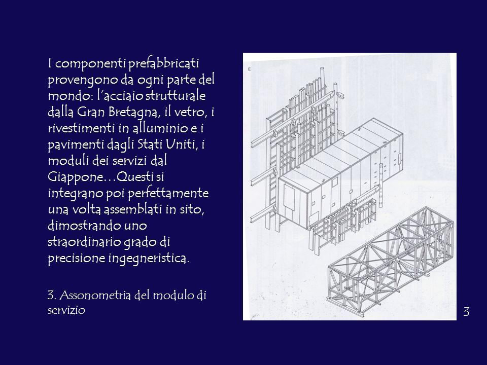 I componenti prefabbricati provengono da ogni parte del mondo: lacciaio strutturale dalla Gran Bretagna, il vetro, i rivestimenti in alluminio e i pav