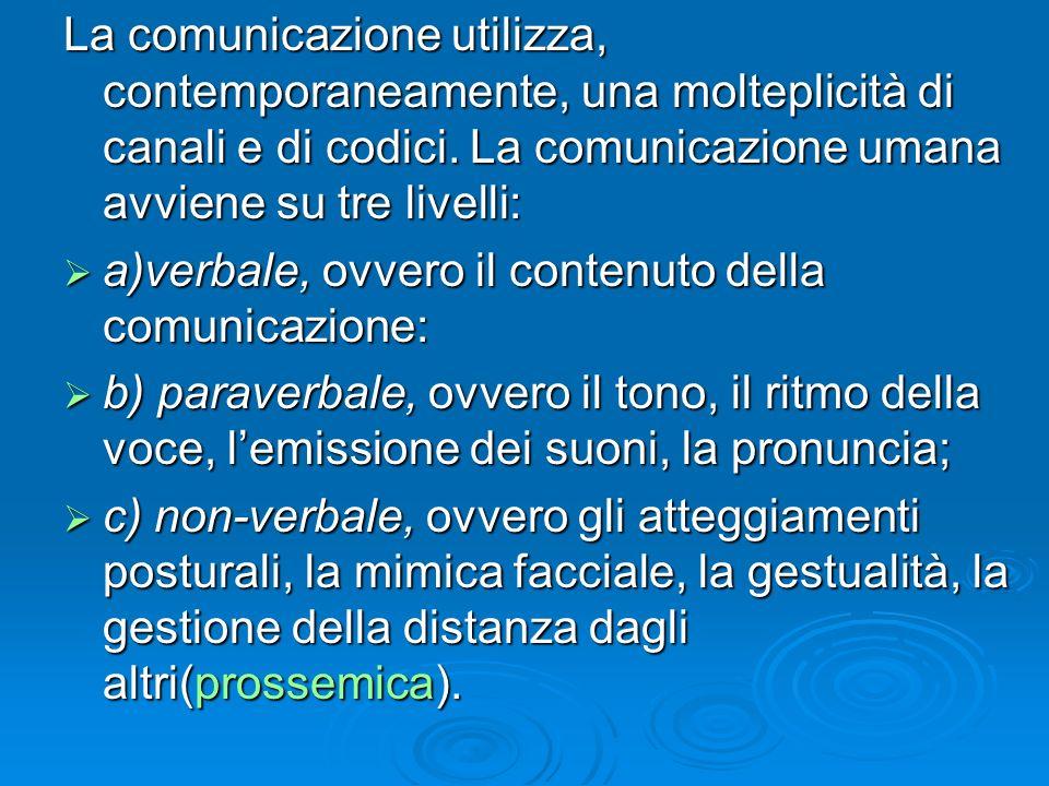 La comunicazione utilizza, contemporaneamente, una molteplicità di canali e di codici. La comunicazione umana avviene su tre livelli: a)verbale, ovver