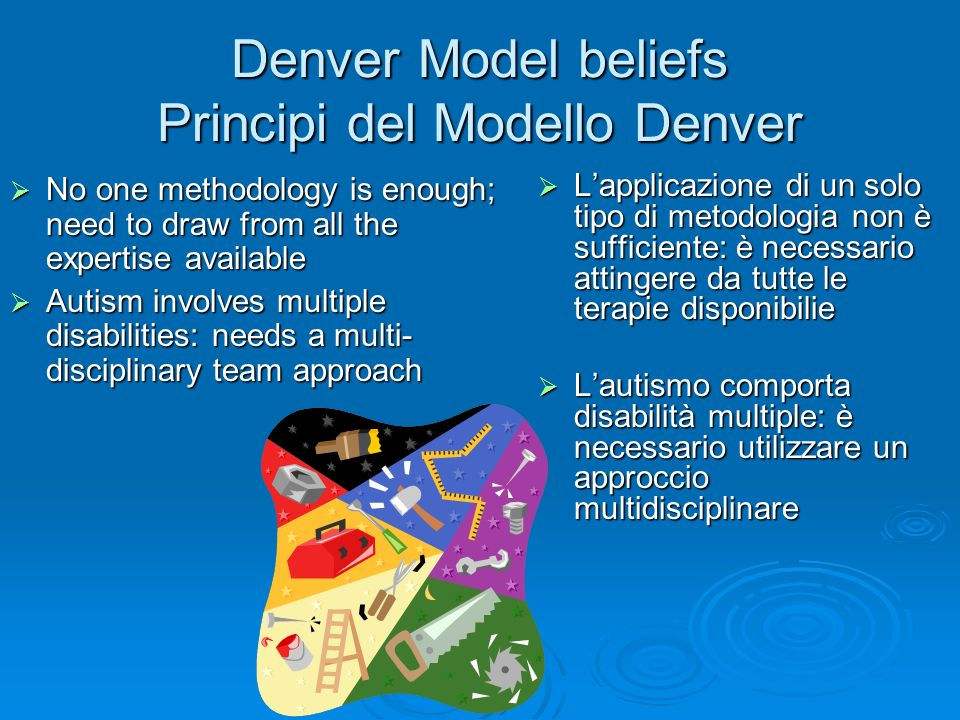 Denver Model beliefs Principi del Modello Denver No one methodology is enough; need to draw from all the expertise available No one methodology is eno