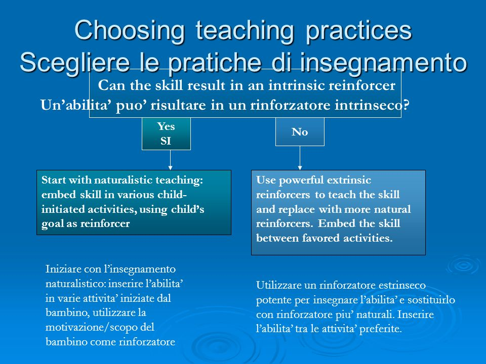 Choosing teaching practices Scegliere le pratiche di insegnamento Can the skill result in an intrinsic reinforcer Unabilita puo risultare in un rinfor