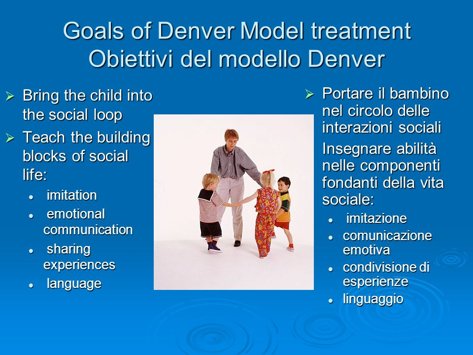 Goals of Denver Model treatment Obiettivi del modello Denver Bring the child into the social loop Bring the child into the social loop Teach the build